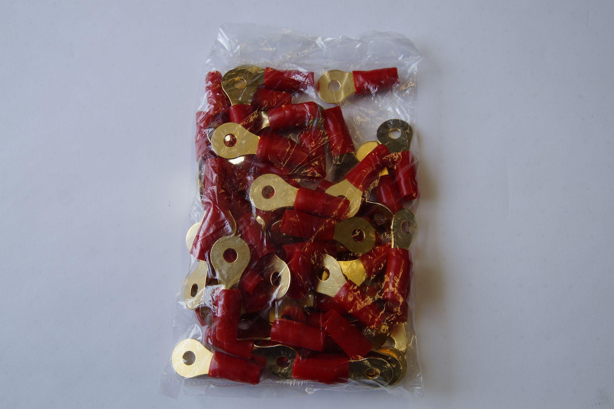 Ring Kabelschuh vergoldet Ringöse Teilisoliert bis 10 mm2 Terminal 50 Stück