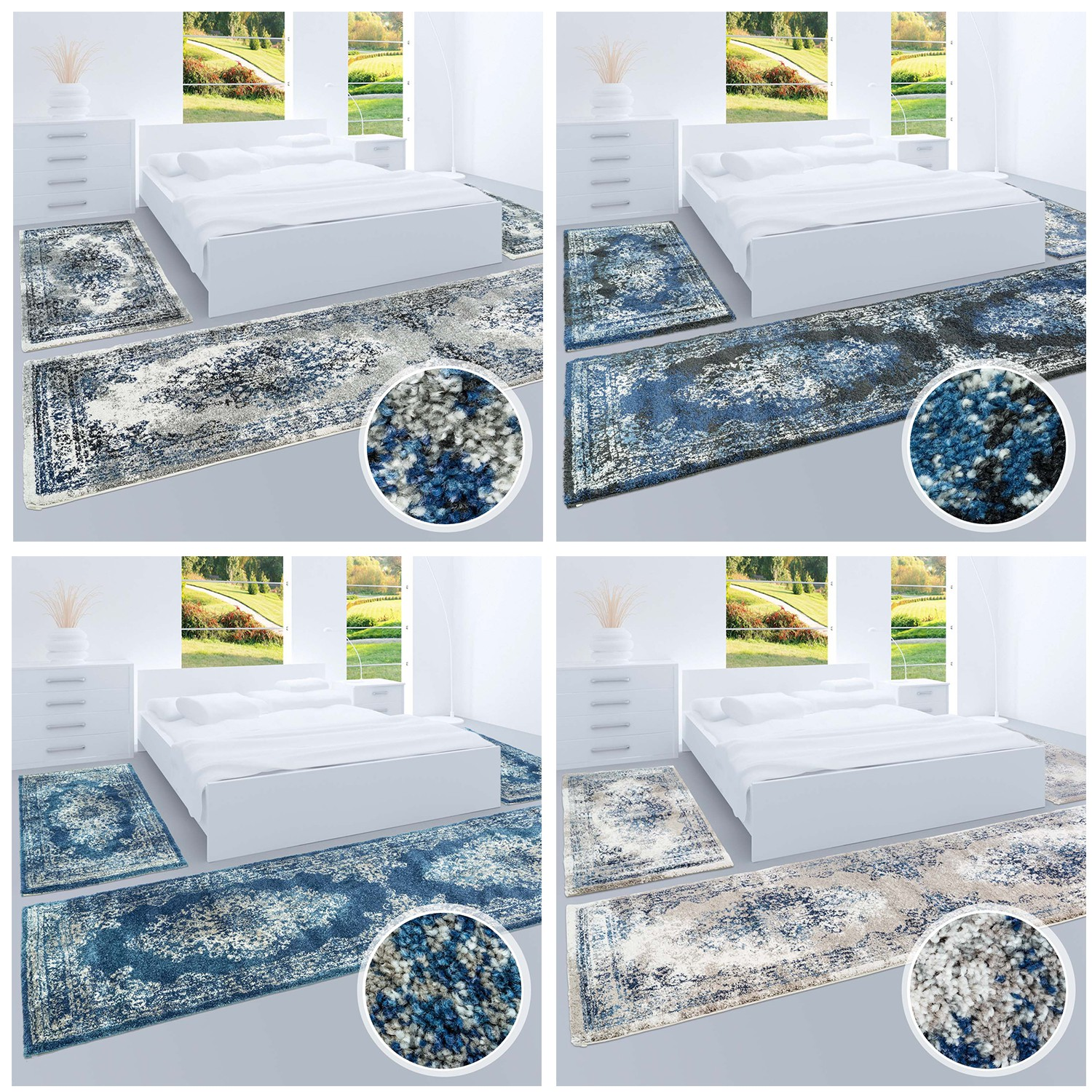 hochwertiger bettumrandung teppich flachflor orientalisch klassisch ornamente modern blau beige. Black Bedroom Furniture Sets. Home Design Ideas