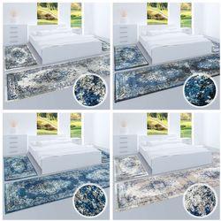 Hochwertiger Bettumrandung Teppich Flachflor Orientalisch Klassisch  Ornamente Modern Blau Beige Grau Weiß Schlafzimmer