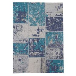 Teppich Wohnzimmer Flachflor Baumwolle Handgewebt Patchwork Design Türkis Blau