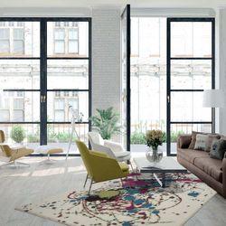 Teppich Wohnzimmer Flachflor Abstraktes Design Grün Violet Türkis ...