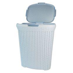 Wäschekorb Wäschebox Rattan Optik Kunststoff Hellblau 45l Fassungsvermögen