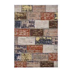 Teppich Hochwertig Wohnzimmer Flachflor Handgefertigt Patchwork Design Used Bunt