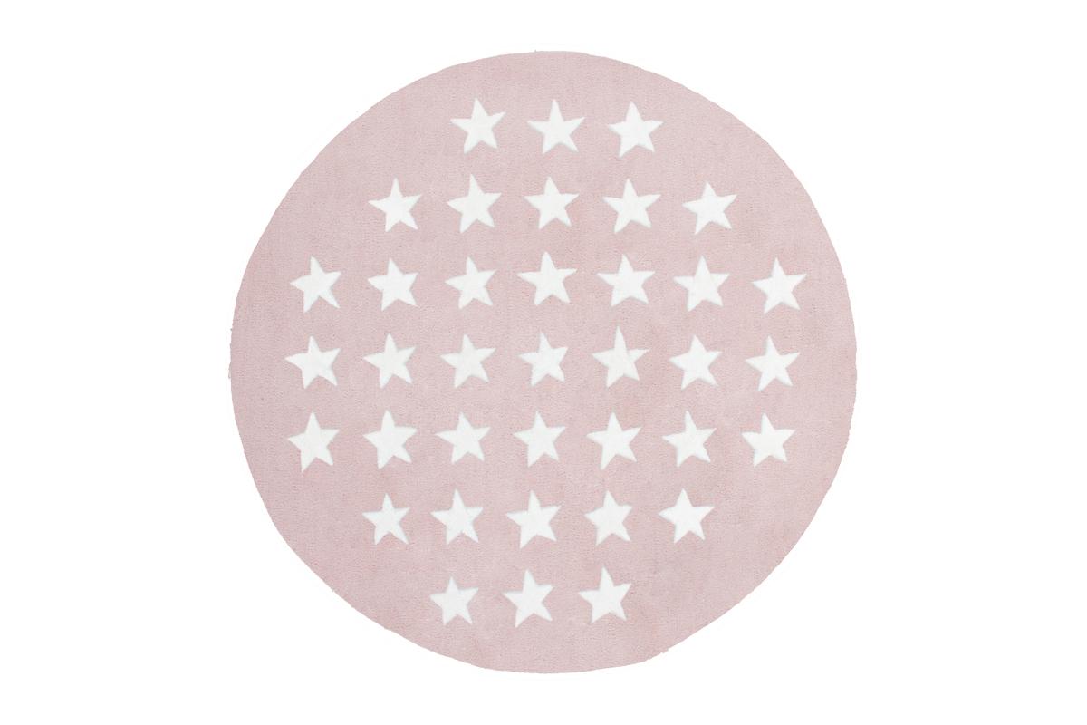 teppich hochwertig flachflor rund handgefertigt modern stern design rosa wei wohnen kinder teppich. Black Bedroom Furniture Sets. Home Design Ideas