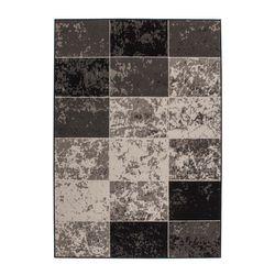 Teppich  Wohnzimmerteppich Flachflor Kurzflor Modern Karo Design Grau Elfenbein