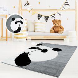 Kinderteppich Spielteppich Teppich Kinderzimmerteppich Hochwertig Panda-Bär in Pastell-Grau mit Konturenschnitt