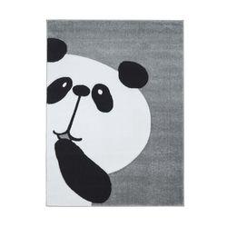Kinderteppich Teppich Kinderzimmer Hochwertig Panda-Bär in Pastell-Grau mit Konturenschnitt
