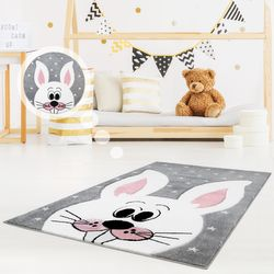 Kinderteppich Spielteppich Teppich Kinderzimmer Konturenschnitt mit Hasen Stern Motiv Hasezähne Grau Rosa