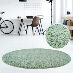 Hochflor Teppich Shaggy Teppich fürs Wohnzimmer Modern & Flauschig Rund Bettvorleger, Esszimmer, Kinderzimmer