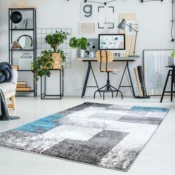 Teppich Flachflor Moda mit Modernen Desgin Grau Türkis Muster Meliert Geometrisch