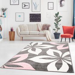Teppich Flachflor Moda Geometrische Mit Blumen Muster Motiv in Grau Schwarz Weiß Pastell Pink