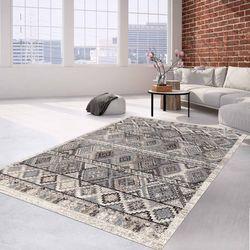 Teppich Klassisch Flachflor Orientalisches Muster Creme Grau Wohnzimmer