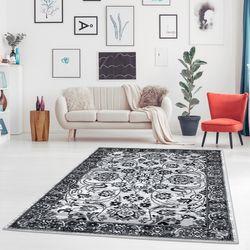 Teppich Flachflor Klassiker Inspiration Home Mäander-Design Zeitlos Schwarz-Weiß Look Wohnzimmer Schlafzimmer