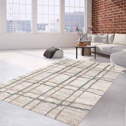 Teppich Klassisch Flachflor Meliert Grau Creme Wohnzimmer Schlafzimmer