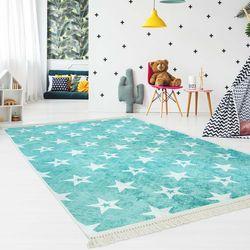 Druckteppich Kinderteppich Türkis Weiß Sterne Kinderzimmer Flachflor Waschbar