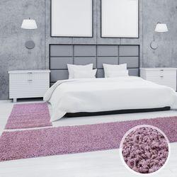 Shaggy Läufer Bettumrandung Hochflor-Teppich Pastell-Lila Einfarbig Bettvorleger 3 teilig