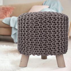 Sitzhocker Sitzpouf Fußhocker Holzfüßen Baumwollüberzug Handarbeit Strick-Design Grau-Braun