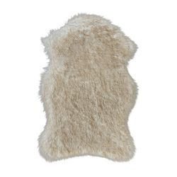 Qilim Kunstfell-Teppich Hochflor Shaggy in Fell-Optik, SoftTouch, Einfarbig/Uni in Beige-Weiß für Wohn- und Schlafzimmer
