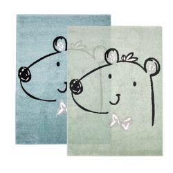 Kinderteppich Spielteppich Teppich Flachflor für das Kinderzimmer mit niedlichen Bär in Pastell Farben