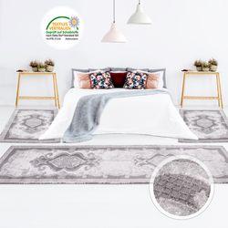 Teppich Bettumrandung Klassisch Ornamenten Muster Hoch-Tief-Effekt Grau Schlafzimmer 3 teilig 2x 80x150cm 1x 80x300cm