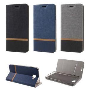 Flip Case Handy-Hülle zu Huawei Y7 - BOOK Mehrfarbig, Muster Webstoff-Optik #M33
