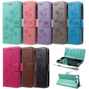 Flip Case Handy-Hülle BOOK #S26 Einfarbig, Muster Schmetterlinge & Blumen zu Sony Xperia XZ1