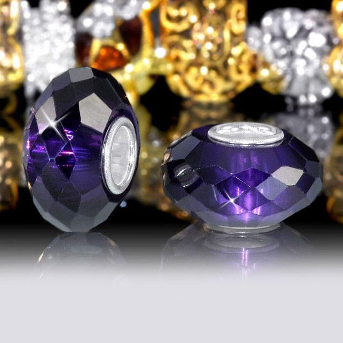 MATERIA 925 Silber Beads Zirkonia Glas Element  - lila Charm aus schwerem Zirkoniaglas für Beads Armbänder #654