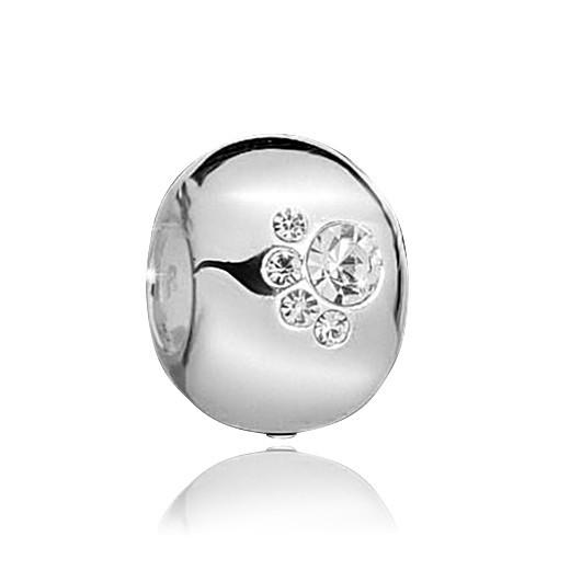 MATERIA PREMIUM 925 Silber Beads Pfoten Kugel Anhänger Zirkonia rhodiniert inkl. Box - deutsche Fertigung #1568