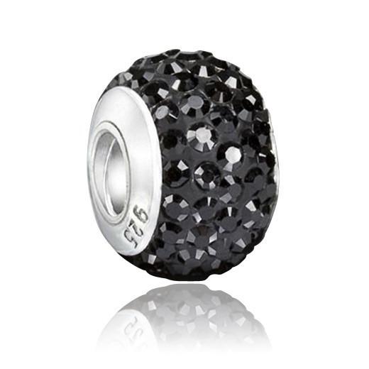 MATERIA Kristall Beads Kugel schwarz Charcoal - Strass Anhänger mit Gewinde für Beads Armband #1212