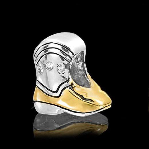 MATERIA 925 Silber Bead bicolor Cowboy Stiefel - Zirkonia Anhänger vergoldet für Beads Armband #1287