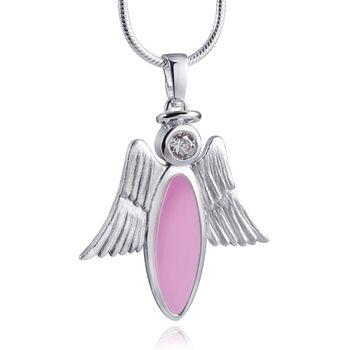 MATERIA 925 Silber Zirkonia Anhänger Engel rosa emailliert mit Heiligenschein inkl. Box - deutsche Fertigung #KA-215