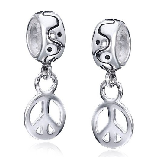 MATERIA 925 Silber Dangle Beads Anhänger PEACE Symbol für European Beads Armband #1335