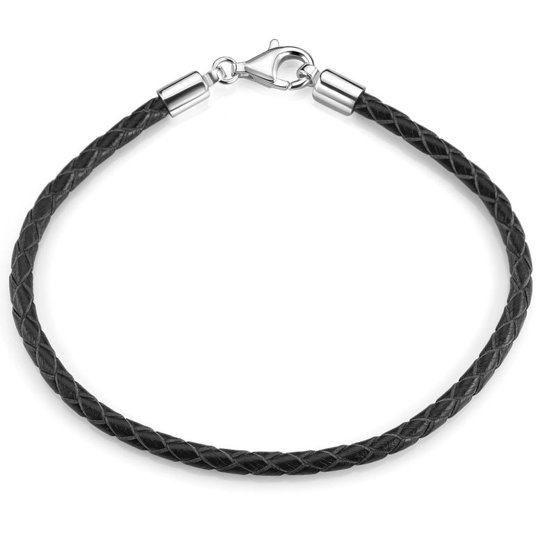 MATERIA Damen Herren Beads Armband Leder 3mm schwarz 925 Silber Lederarmband 17-22cm  A58