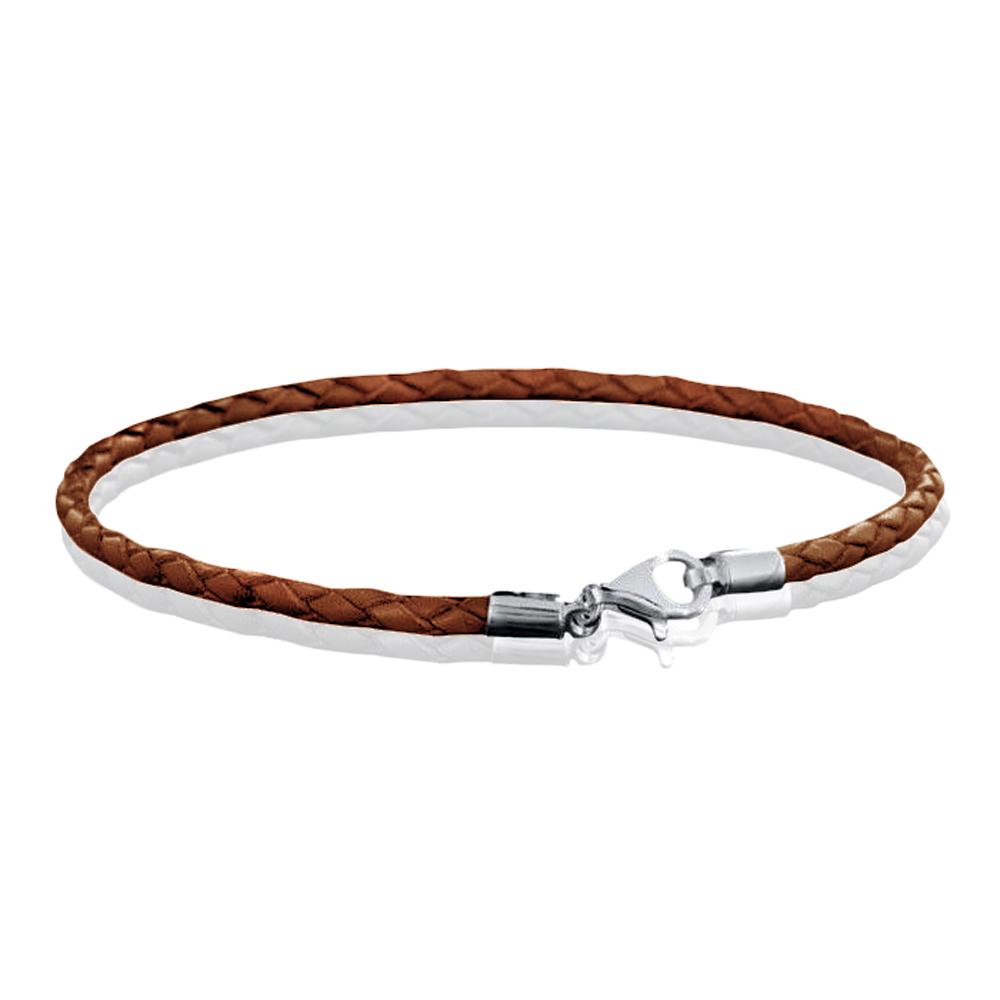 MATERIA Silber Beads Armband Leder braun 18-22cm