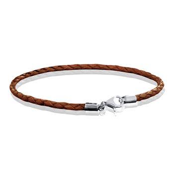 MATERIA 925 Silber Beads Armband Herren Damen - Leder Armband Karabiner braun 18-22cm #A56