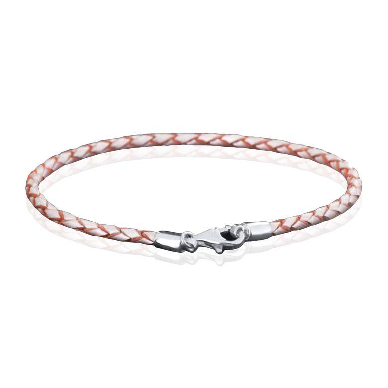 MATERIA 925 Silber Beads Armband Herren Damen - Leder Armband Karabiner champagner 18-22cm #A55