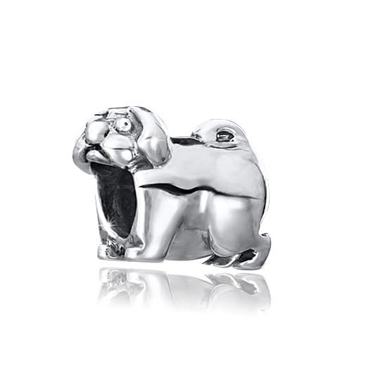 MATERIA Dackel Hund Beads Perle Silber 925 - Beads antik Anhänger Tiere für Beads Armband #1456