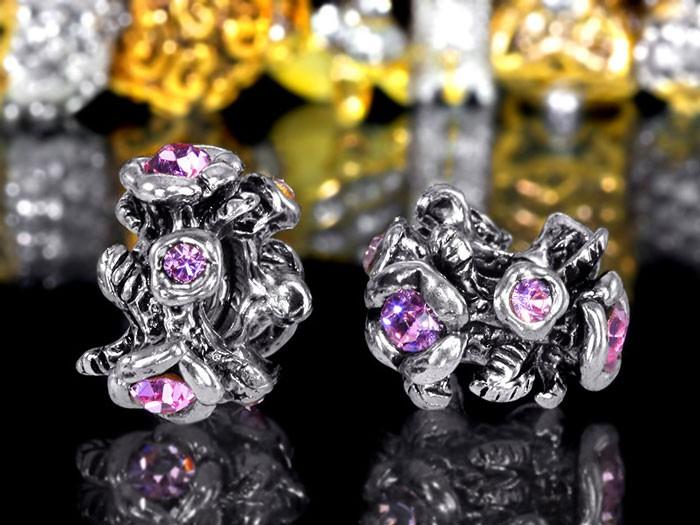 MATERIA 925 Silber Beads Kristall Anhänger rosa WILDROSE für European Beads Armband / Kette #603
