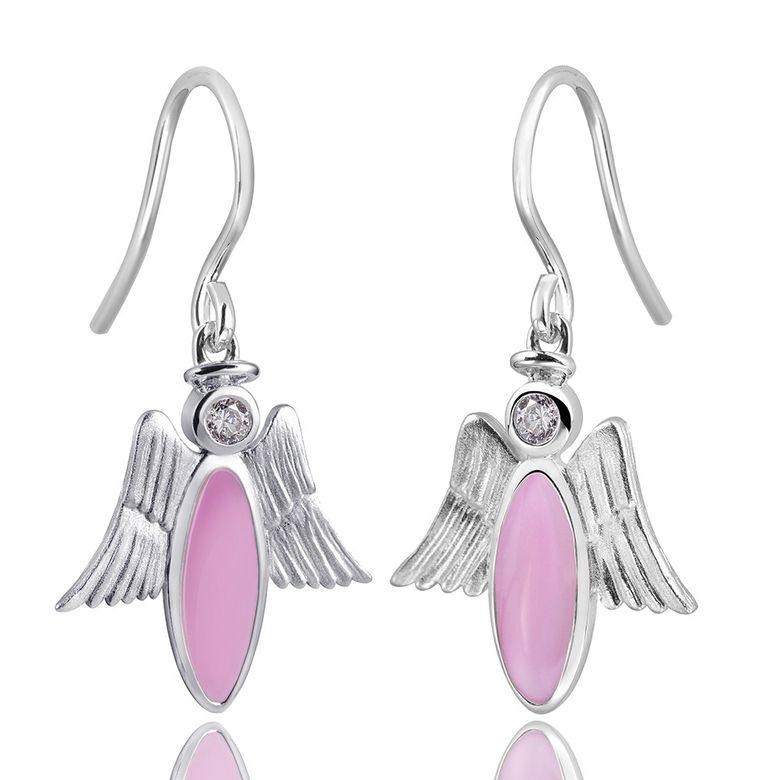MATERIA 925 Silber Zirkonia Ohrhänger Engel rosa emailliert mit Engelsflügel inkl. Box #SO-200