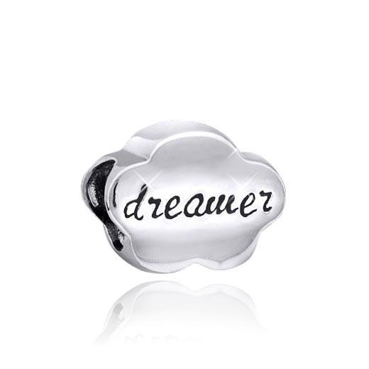 MATERIA 925 Silber Beads Anhänger Wolke mit Gravur DREAMER für Beads Armband / Kette #48