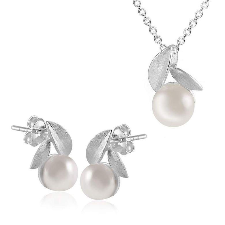 MATERIA Ankerkette Silber + Silber Ohrstecker Perlen & Blätter + Anhänger + Box #189-185-30