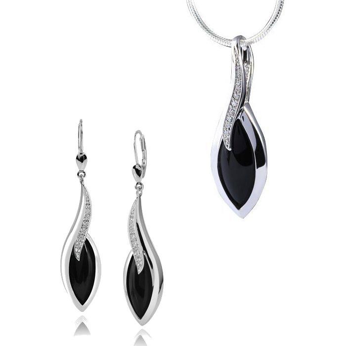MATERIA Set Schlangenkette + 925 Silber Ohrhänger Onyx Zirkonia & Onyx Anhänger rhodiniert + Holz Box #164-141-22