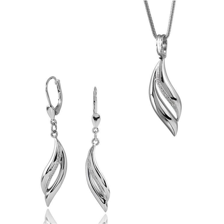 MATERIA 45cm Schlangenkette + 925 Silber Ohrhänger Zirkonia geschwungen & Anhänger #165-151-22
