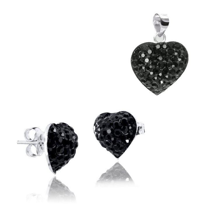 MATERIA Schmuckset Herz Kristall Anhänger Silber 925 schwarz mit Ohrstecker Herzen inkl. Kette