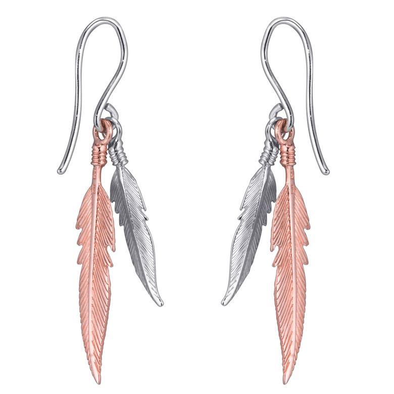 MATERIA Damen Ohrringe Feder hängend 925 Silber Ohrhänger rosegold vergoldet bicolor in Geschenk-Box SO-119-Rose