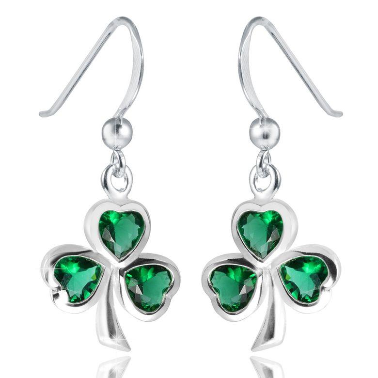 MATERIA Kleeblatt Ohrhänger Zirkonia grün - 925 Silber Ohrringe Glücksbringer / Glück mit Box #SO-210