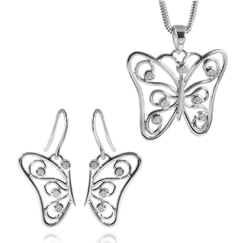 MATERIA 45cm Schlangenkette + 925 Silber Ohrhänger Schmetterling & Anhänger Zirkonia inkl. Box #182-188-22