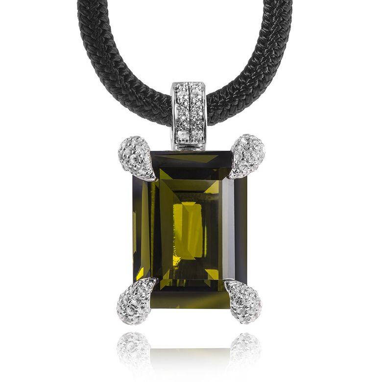 GANI MARIANO 925 Silber Kettenhänger Zirkonia olivgrün OLIVA inklusive Halsband & Holzbox #OVK