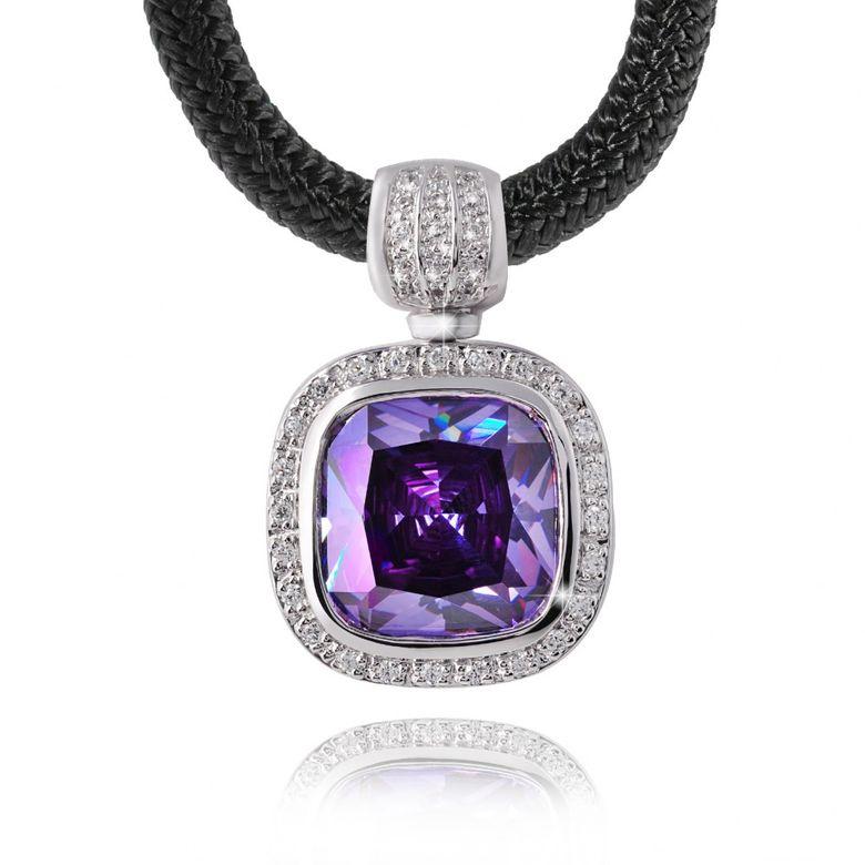 GANI MARIANO 925 Silber Kettenhänger Zirkonia lila LAVANDA inklusive Halsband & Holzbox #LDK