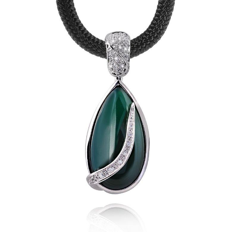 GANI MARIANO 925 Silber Kettenhänger Edelstein LACRIMA - Achat Anhänger grün inkl. Halsband & Holzbox #LMK